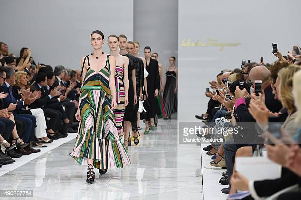 A model walks the runway during the Salvatore Ferragamo show as a part of Milan Fashion Week Spring/Summer 2016 on September 27 2015 in Milan Italy