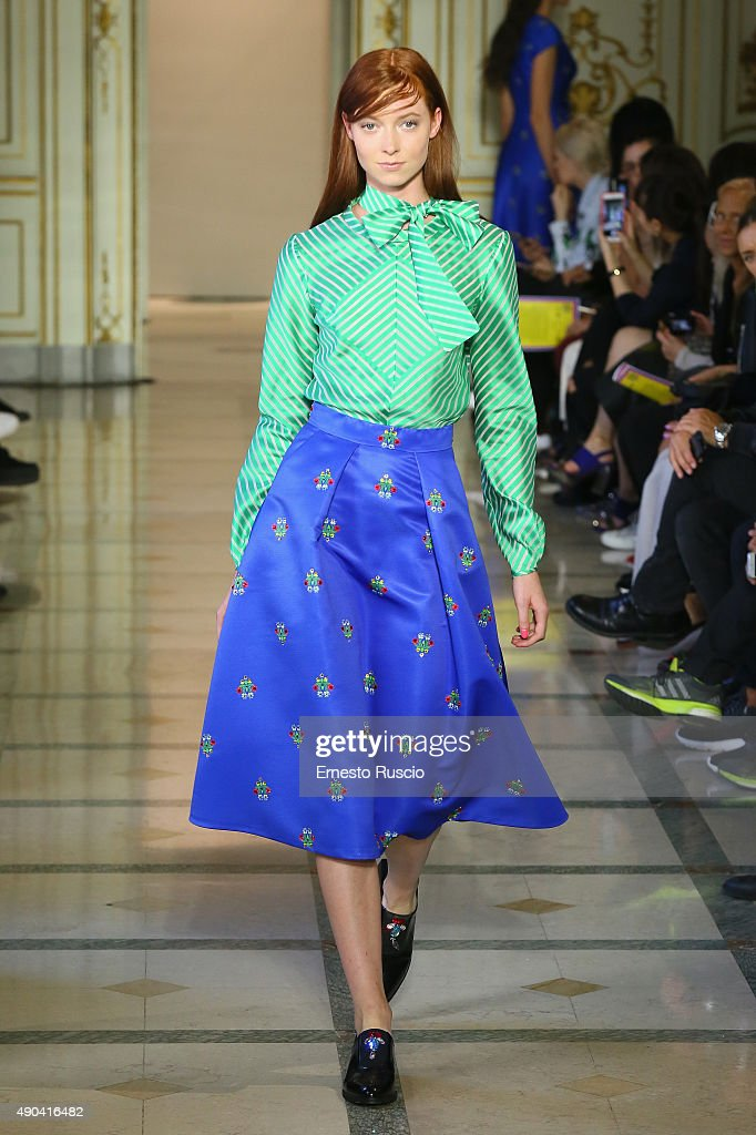 A model walks the runway during the San Andres Milano fashion show as part of Milan Fashion Week Spring/Summer 2016 on September 28 2015 in Milan...