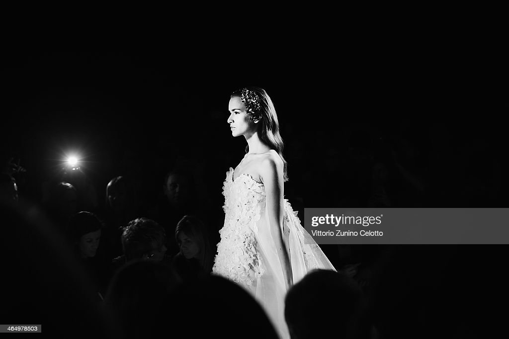 A model walks the runway during the Sarli Couture fashion show at Altaroma Altamoda on January 25, 2014 in Rome, Italy.