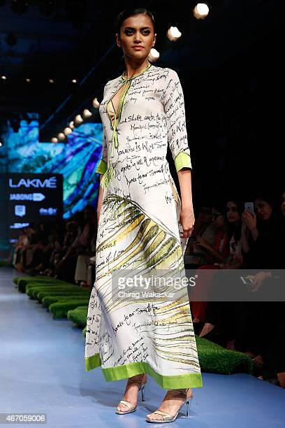 A model walks the runway during the SatyaPaul by Gauri Khan show on Day 3 of Lakme Fashion Week Summer/Resort 2015 at Palladium Hotel on March 20...