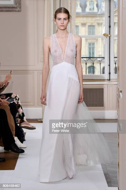 A model walks the runway during the Schiaparelli Haute Couture Fall/Winter 20172018 show as part of Haute Couture Paris Fashion Week on July 3 2017...