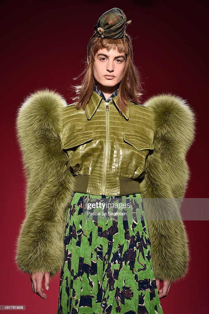 A model walks the runway during the Schiaparelli show as part of Paris Fashion Week - Haute Couture Fall/Winter 2014-2015 on July 7, 2014 in Paris, France.