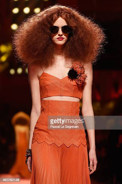 A model walks the runway during the Schiaparelli show as part of Paris Fashion Week Haute Couture Spring/Summer 2015 on January 26 2015 in Paris...