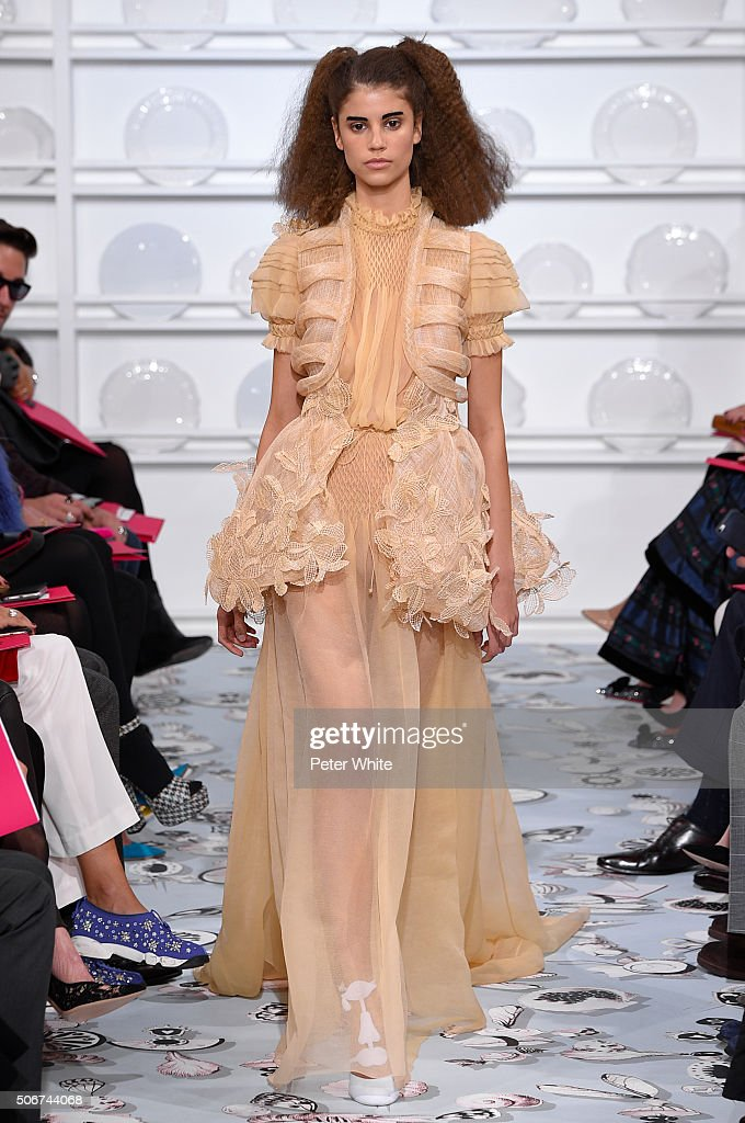 A model walks the runway during the Schiaparelli Spring Summer 2016 show as part of Paris Fashion Week on January 25, 2016 in Paris, France.