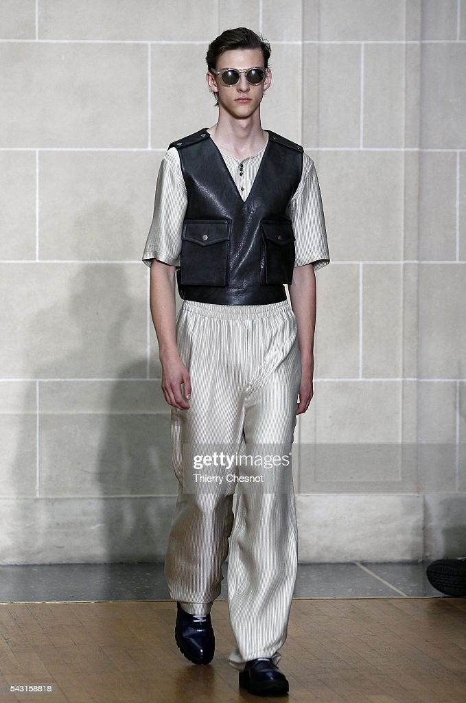 A model walks the runway during the Sean Suen Menswear Spring/Summer 2017 show as part of Paris Fashion Week on June 26, 2016 in Paris, France.
