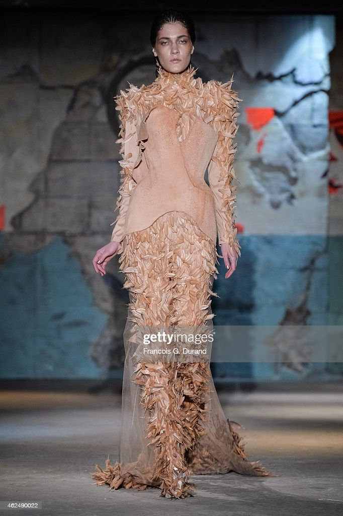 A model walks the runway during the Serkan Cura show as part of Paris Fashion Week Haute Couture Spring/Summer 2015 on January 29 2015 in Paris France