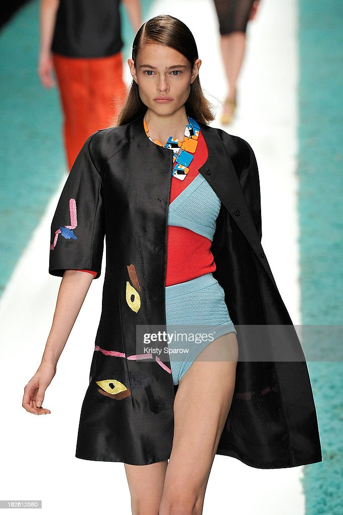 A model walks the runway during the Shiatzy Chen show as part of Paris Fashion Week Womenswear Spring/Summer 2014 on October 1, 2013 in Paris, France.
