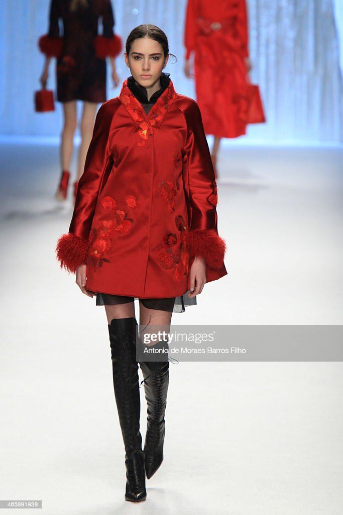 A model walks the runway during the Shiatzy Chen show as part of the Paris Fashion Week Womenswear Fall/Winter 2015/2016 on March 10 2015 in Paris...