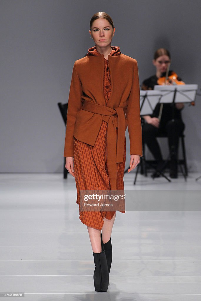 A model walks the runway during the Sid Niegum fashion show during World Mastercard fashion week on March 17, 2014 in Toronto, Canada.