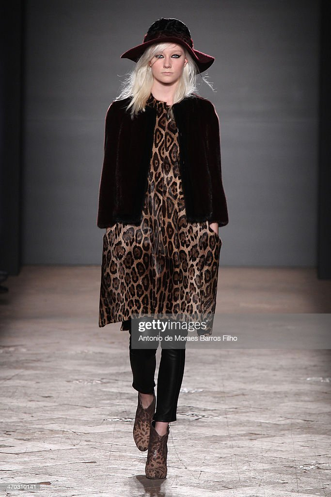 A model walks the runway during the Simonetta Ravizza show as a part of Milan Fashion Week Womenswear Autumn/Winter 2014 on February 19, 2014 in Milan, Italy.