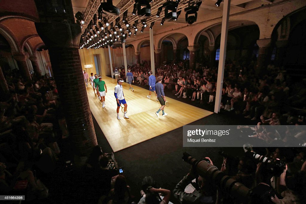 A model walks the runway during the Slanzeger show as part of the 080 Barcelona Fashion Spring/Summer 2015 at the Hospital de Sant Pau on July 3, 2014 in Barcelona, Spain.