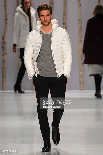 A model walks the runway during the Soia Kyo fashion show at David Pecaut Square on March 26 2015 in Toronto Canada