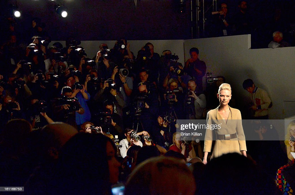 A model walks the runway during the Son Jung Wan during Fall 2013 Mercedes-Benz Fashion Week at The Studio at Lincoln Center on February 9, 2013 in New York City.