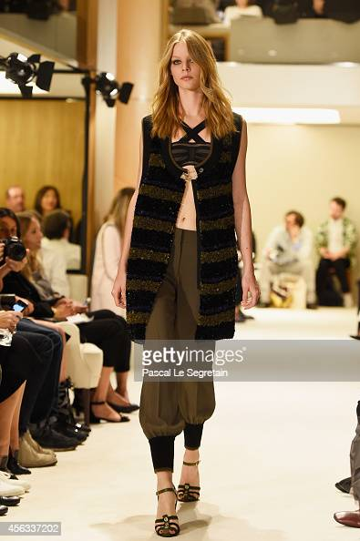 A model walks the runway during the Sonia Rykiel show as part of the Paris Fashion Week Womenswear Spring/Summer 2015 on September 29 2014 in Paris...