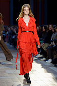 A model walks the runway during the Sonia Rykiel show as part of the Paris Fashion Week Womenswear Fall/Winter 2016/2017 on March 7 2016 in Paris...
