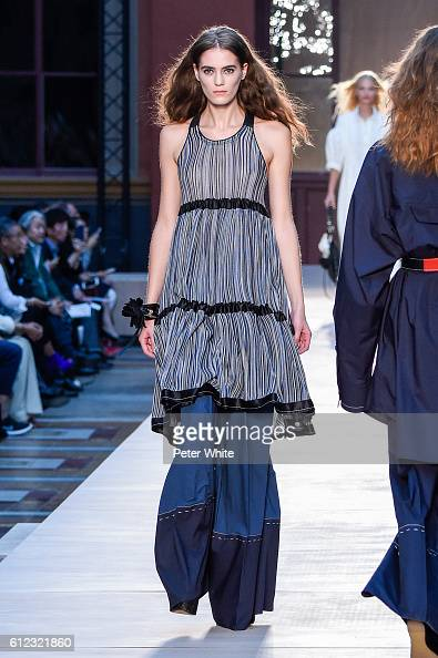 A model walks the runway during the Sonia Rykiel show as part of the Paris Fashion Week Womenswear Spring/Summer 2017 on October 3 2016 in Paris...