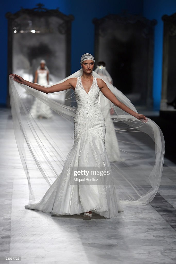 A model walks the runway during the St Patrick new collection presentation on March 4, 2013 in Barcelona, Spain.