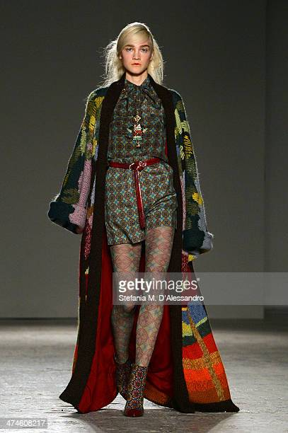 A model walks the runway during the Stella Jean as a part of Milan Fashion Week Womenswear Autumn/Winter 2014 on February 24 2014 in Milan Italy