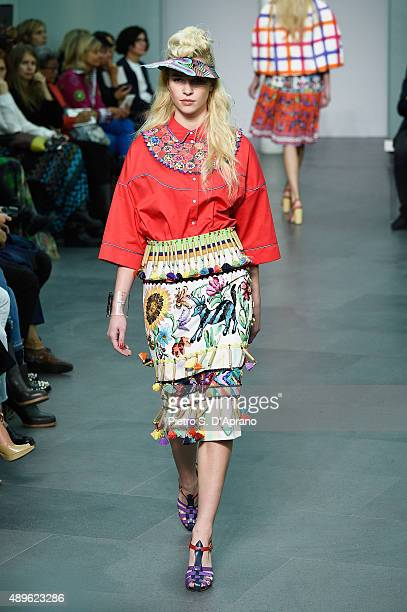 A model walks the runway during the Stella Jean fashion show as part of Milan Fashion Week Spring/Summer 2016 on September 23 2015 in Milan Italy