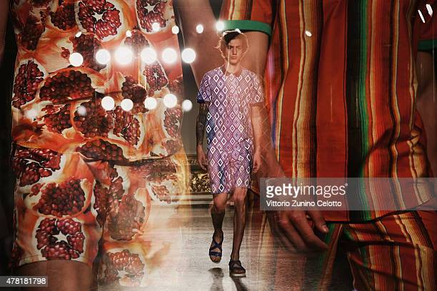 A model walks the runway during the Stella Jean show as part of Milan Men's Fashion Week Spring/Summer 2016 on June 23 2015 in Milan Italy