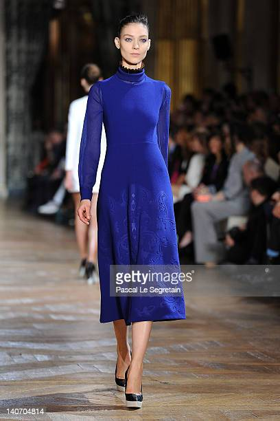 A model walks the runway during the Stella McCartney ReadyToWear Fall/Winter 2012 show as part of Paris Fashion Week on March 5 2012 in Paris France