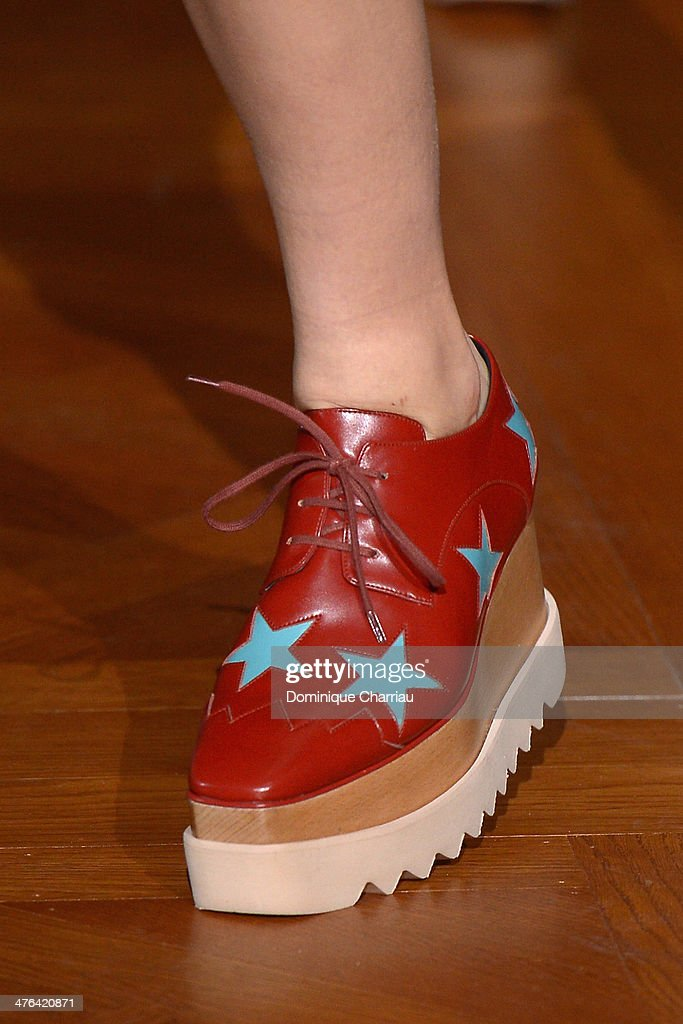 A model (shoe detail) walks the runway during the Stella McCartney show as part of the Paris Fashion Week Womenswear Fall/Winter 2014-2015 on March 3, 2014 in Paris, France.