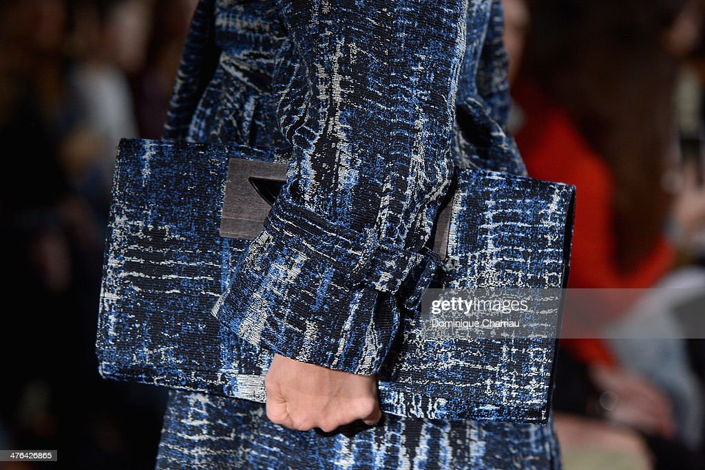 A model (bag detail) walks the runway during the Stella McCartney show as part of the Paris Fashion Week Womenswear Fall/Winter 2014-2015 on March 3, 2014 in Paris, France.