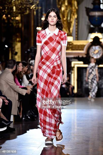 A model walks the runway during the Stella McCartney show as part of the Paris Fashion Week Womenswear Spring/Summer 2016 on October 5 2015 in Paris...