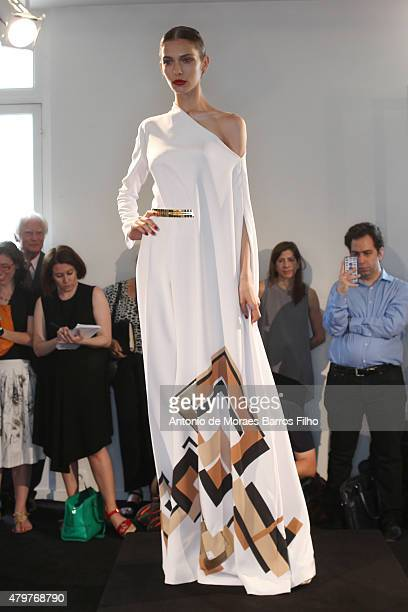 A model walks the runway during the Stephane Rolland show as part of Paris Fashion Week Haute Couture Fall/Winter 2015/2016 on July 7 2015 in Paris...