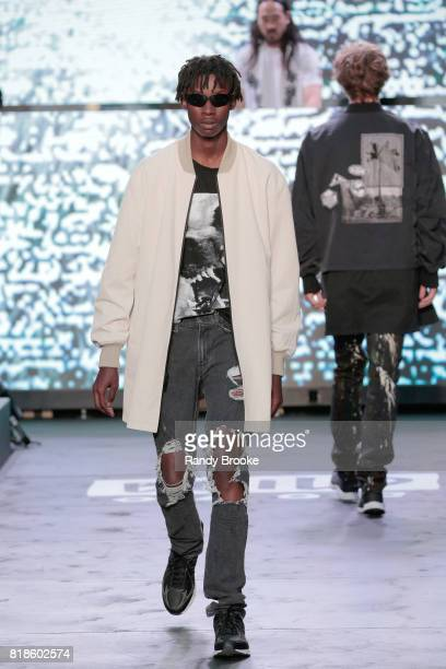 A model walks the runway during the Steve Aoki Presents Dim Mak Collection SS18 on July 18 2017 in New York City