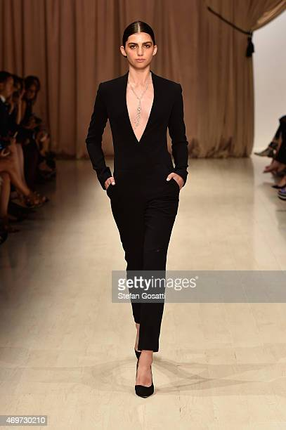 A model walks the runway during the Steven Khalil show at MercedesBenz Fashion Week Australia 2015 at Carriageworks on April 15 2015 in Sydney...