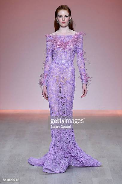 A model walks the runway during the Steven Khalil show at MercedesBenz Fashion Week Resort 17 Collections at Carriageworks on May 17 2016 in Sydney...