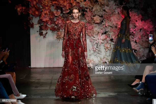 A model walks the runway during the Steven Khalil show at MercedesBenz Fashion Week Resort 18 Collections at Elston Room on May 15 2017 in Sydney...