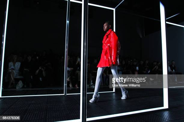 A model walks the runway during the StrateasCarlucci show at MercedesBenz Fashion Week Resort 18 Collections at Carriageworks on May 18 2017 in...