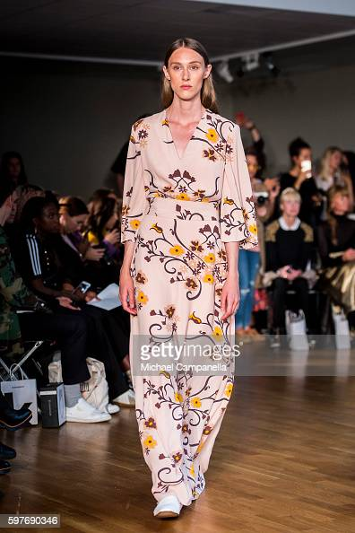 A model walks the runway during the Stylein show on the first day of Stockholm Fashion Week on August 29 2016 in Stockholm Sweden