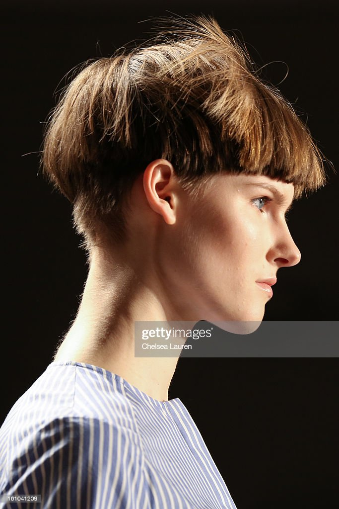 A model walks the runway during the Suno fall 2013 fashion show during MADE Fashion Week at Milk Studios on February 8, 2013 in New York City.