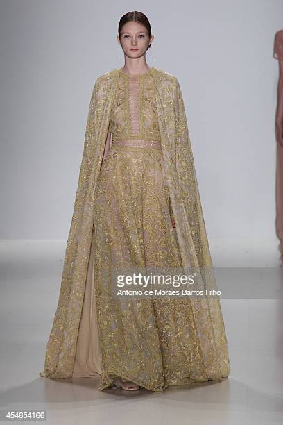 A model walks the runway during the Tadashi Shoji show during MercedesBenz Fashion Week Spring 2015 >> at The Salon at Lincoln Center on September 4...