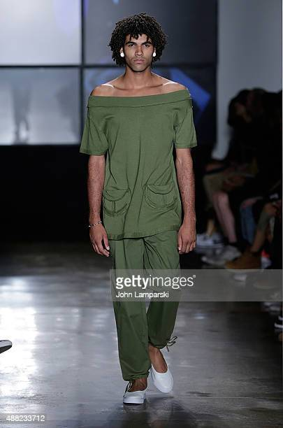 A model walks the runway during the Telfar presentation at Spring 2016 MADE Fashion Week at Milk Studios on September 14 2015 in New York City