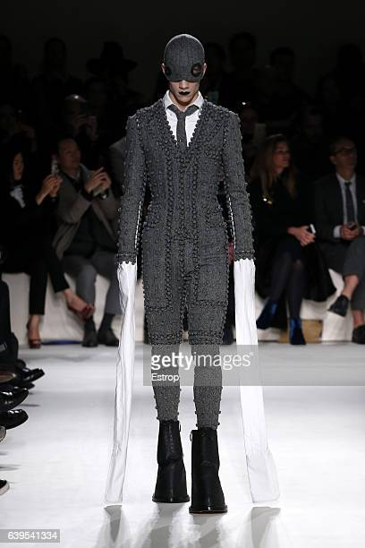 A model walks the runway during the Thom Browne Menswear Fall/Winter 20172018 show as part of Paris Fashion Week on January 22 2017 in Paris France