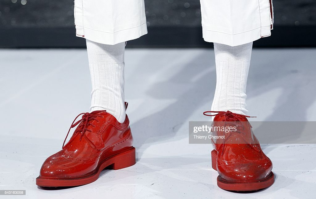 A model (detail shoes) walks the runway during the Thom Browne Menswear Spring/Summer 2017 show as part of Paris Fashion Week on June 26, 2016 in Paris, France.