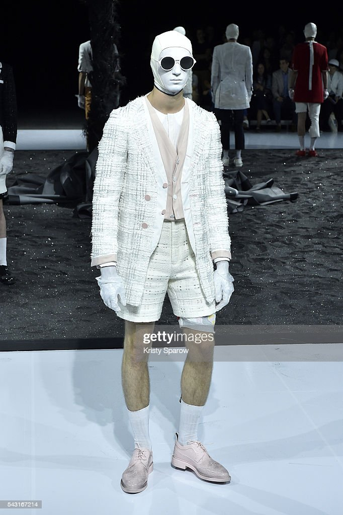 A model walks the runway during the Thom Browne Menswear Spring/Summer 2017 show as part of Paris Fashion Week on June 26, 2016 in Paris, France.