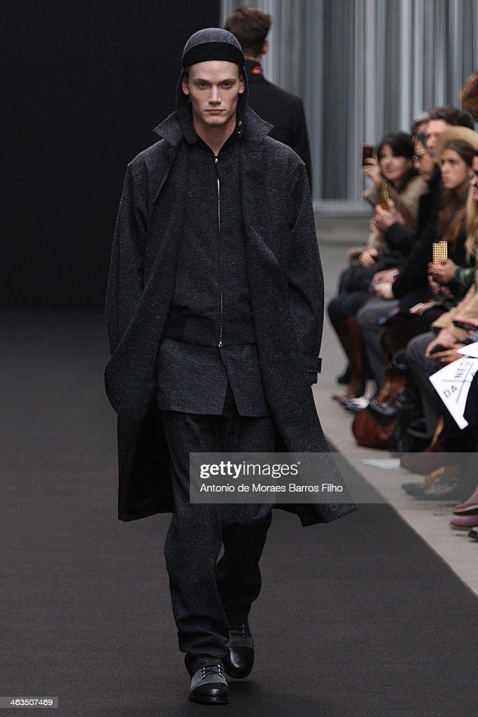 A model walks the runway during the Tillmann Lauterbach Menswear Fall/Winter 2014-2015 show as part of Paris Fashion Week on January 18, 2014 in Paris, France.
