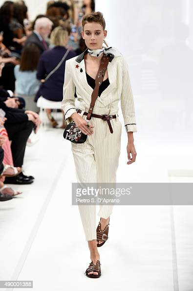 A model walks the runway during the Tod's fashion show as part of Milan Fashion Week Spring/Summer 2016 on September 25 2015 in Milan Italy