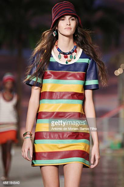 A model walks the runway during the Tommy Hilfiger Women's show as a part of Spring 2016 New York Fashion Week at Pier 36 on September 14 2015 in New...