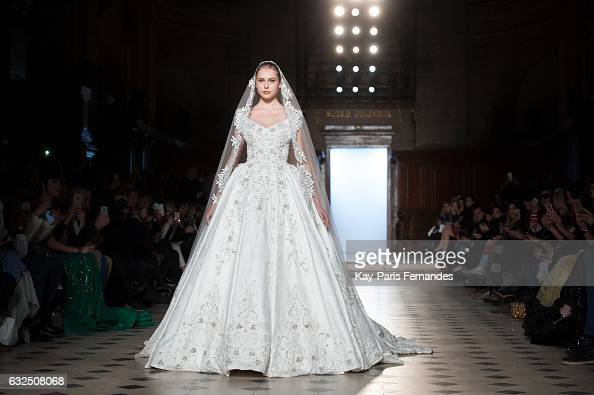 A model walks the runway during the Tony Ward Couture Spring Summer 2017 show as part of Paris Fashion Week on January 23 2017 in Paris France