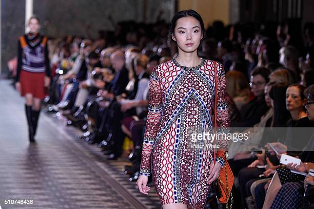 A model walks the runway during the Tory Burch collection at the Fall 2016 New York Fashion Week at David Geffen Hall on February 16 2016 in New York...