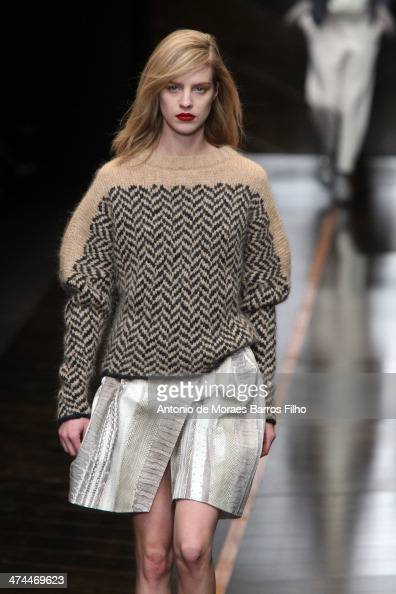 A model walks the runway during the Trussard show as a part of Milan Fashion Week Womenswear Autumn/Winter 2014 on February 23 2014 in Milan Italy