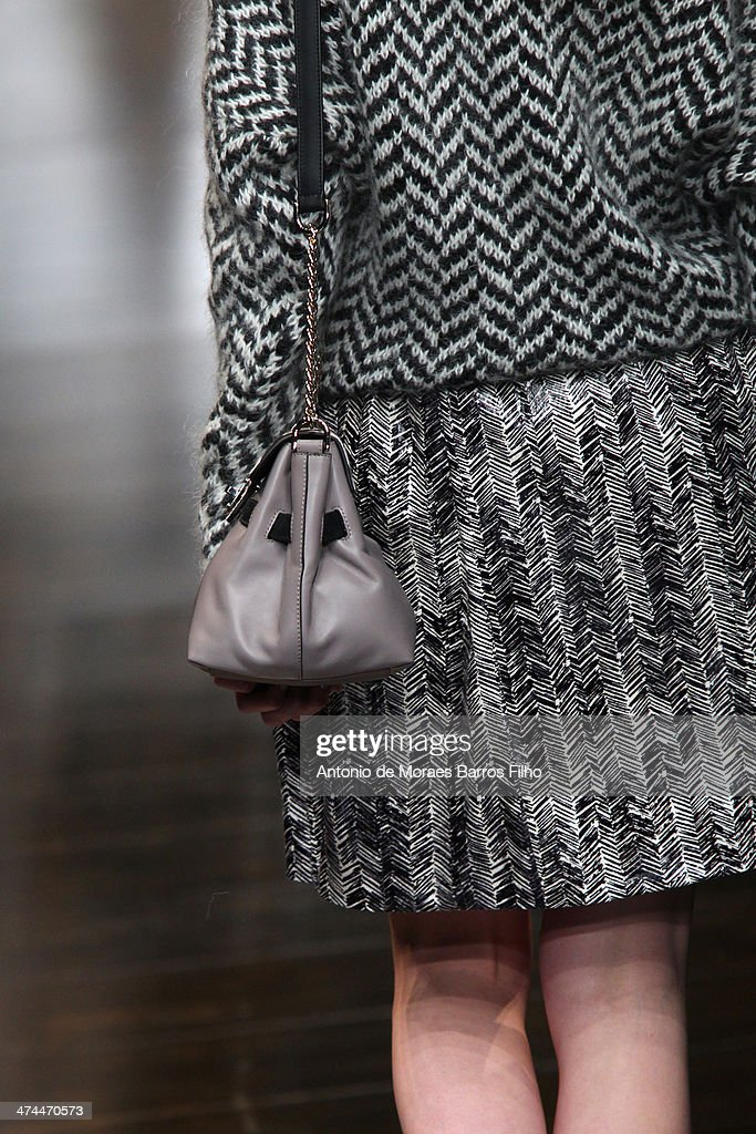 A model walks the runway (detail) during the Trussard show as a part of Milan Fashion Week Womenswear Autumn/Winter 2014 on February 23, 2014 in Milan, Italy.