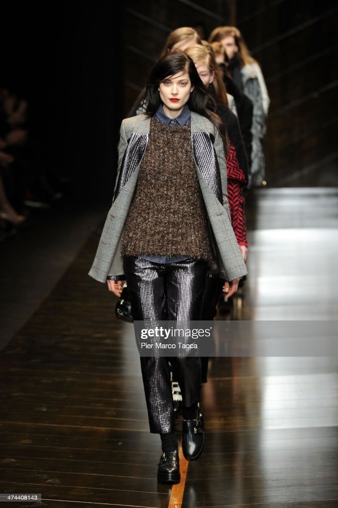 A model walks the runway during the Trussardi show as part of Milan Fashion Week Womenswear Autumn/Winter 2014 on February 23, 2014 in Milan, Italy.