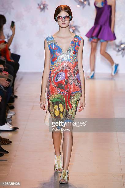 A model walks the runway during the Tsumori Chisato show as part of the Paris Fashion Week Womenswear Spring/Summer 2015 on September 27 2014 in...
